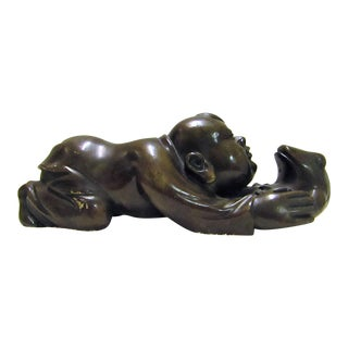 Liu Hai Buddha Playing With Frog Cast Bronze Sculpture