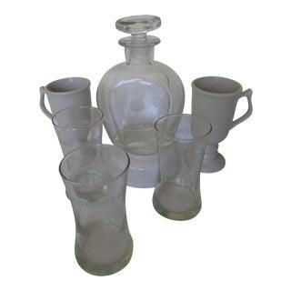 Vintage Horseshoe Decanter, Playboy Glasses & Mugs - Set of 6