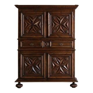 Louis XIII Style Walnut Cabinet, France c.1800