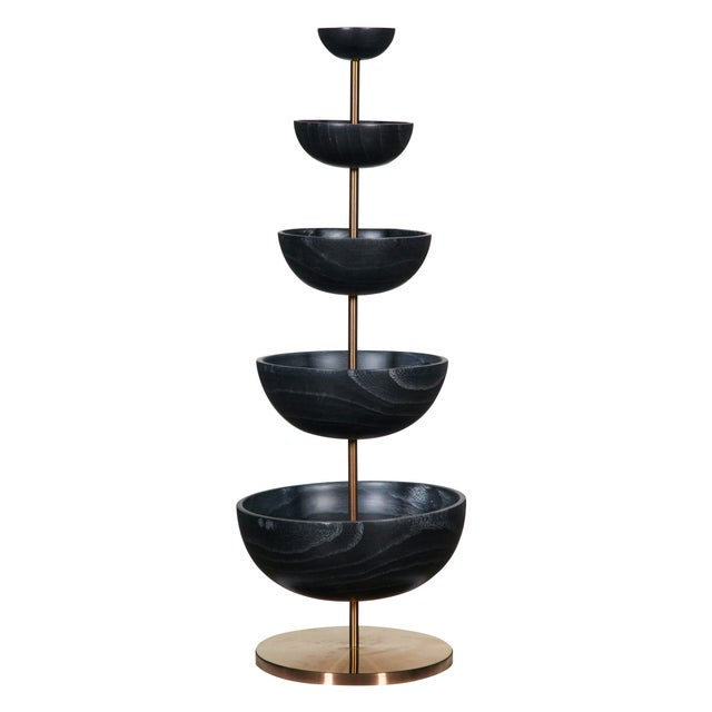 Image of Onyx Paulownia Five-Tier Wood Bowl on Copper Base