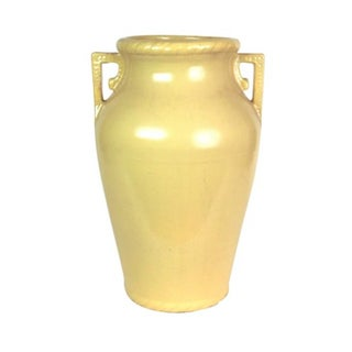 Mustard Yellow Art Pottery Floor Vase