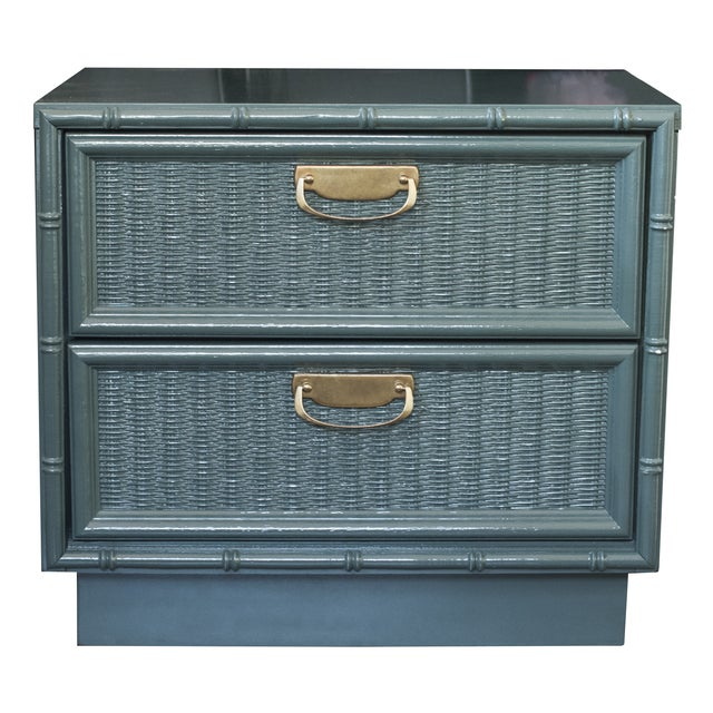 Teal Bamboo Lacquered Nightstand - Image 1 of 7