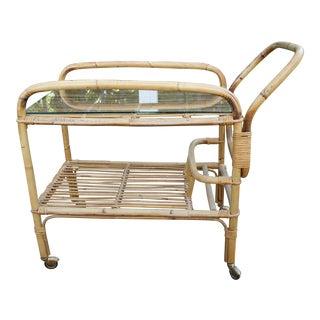 Vintage Bamboo and Rattan Bar Cart / Tea Cart
