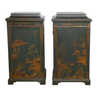 English Green Lacquer Japanned Chinoiserie Pagoda Cabinets - a Pair