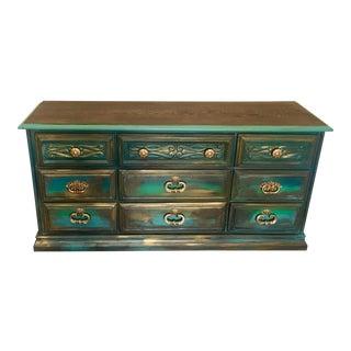 Bohemian Style Dark Green Patina Dresser/ Buffet / Console