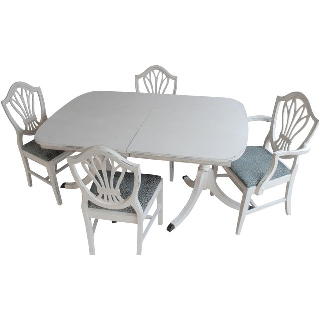 chalk painted duncan phyfe shield back dining set chairish