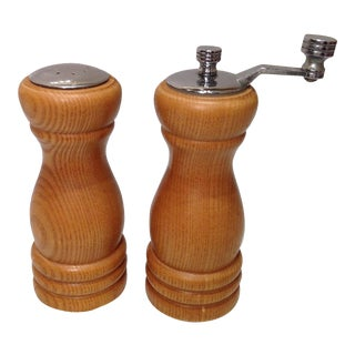 Vintage Wood Pepper Mill and Salt Shaker