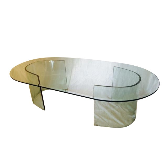 Vintage Curved Glass Coffee Table Chairish