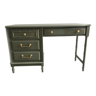 1960s Vintage Faux Bamboo Grey Desk