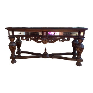 Old World Carved Mahogany Console Table