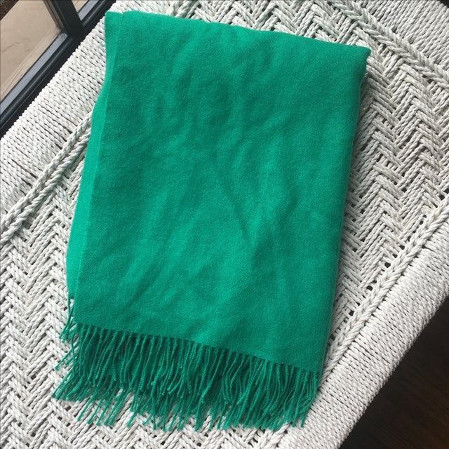 Image of Emerald Green Alpaca Throw With Tassels