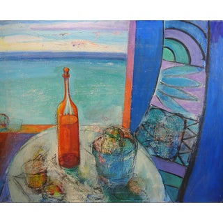 Modernist Cabana & Wine Still Life Painting