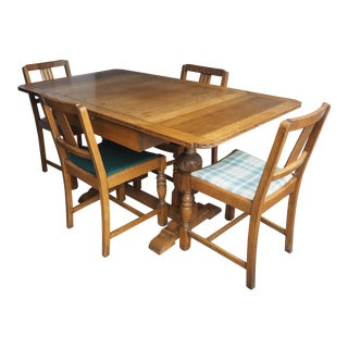 Expandable Oak Dining Set - Table & 4 Chairs