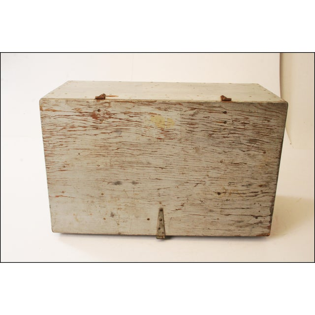 Vintage Industrial Wood Gray Military Storage Chest - Image 6 of 11