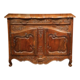 19th Century French Louis XV Carved Walnut Two-Door Buffet