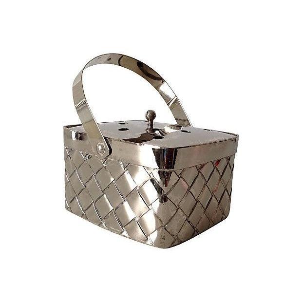 Silverplate Woven Basket Vase - Image 1 of 7