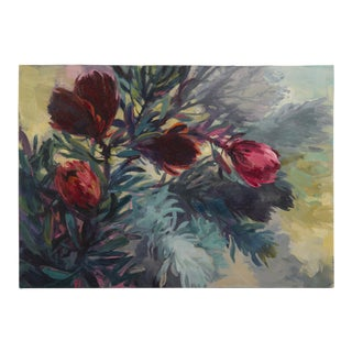 """Five Tall Proteas"", Original Oil on Canvas, Jenny Parsons, South Africa 2012"