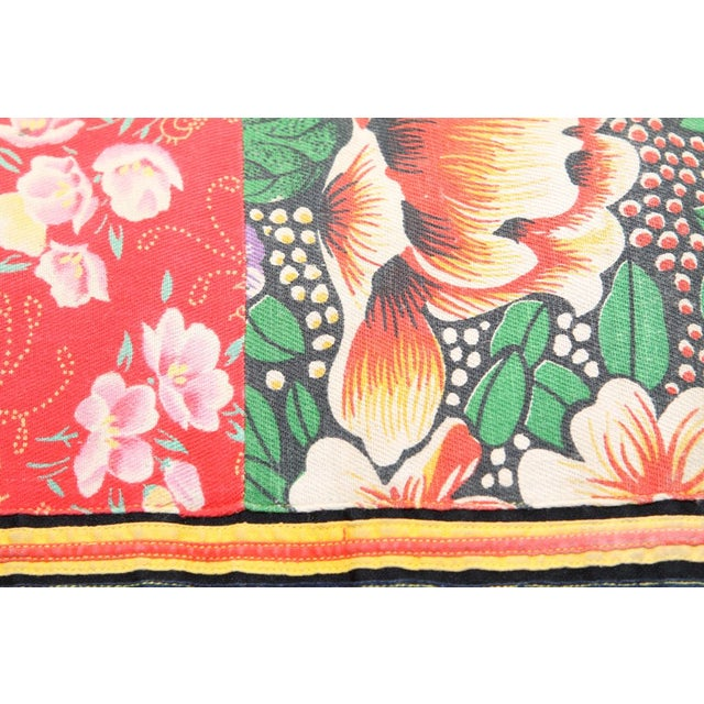 Image of Vibrant Floral and Stripe Hmong Blanket