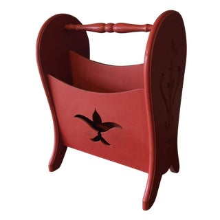 Mid Century Magazine Rack in Coral