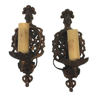 Vintage Night Motif Candle Holders - A Pair