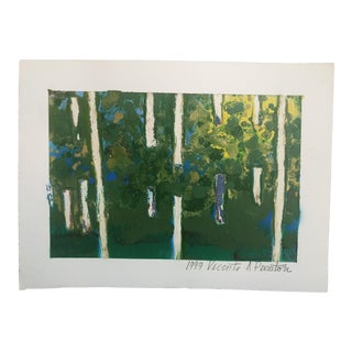 Unframed Painting of Abstract Trees