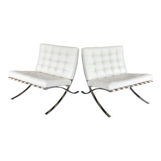 Knoll Barcelona Leather Chairs - A Pair