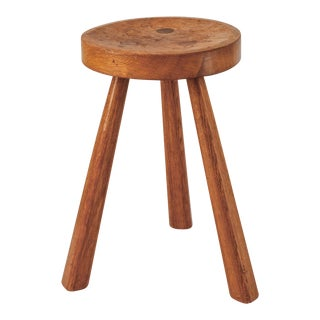 Jean Touret Oak Tripod Stool for Marolles, France, 1950s