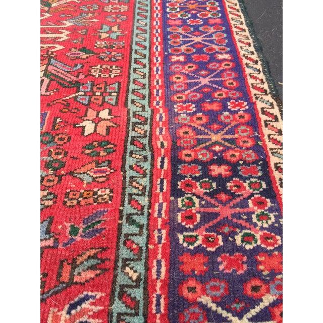 "Vintage Heriz Persian Red Runner - 4'6"" x 12'3"" - Image 3 of 11"