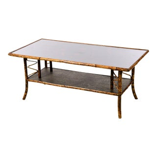 19th Century English Bamboo Coffee Table W/ Lacquered Top
