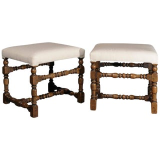 Pair of English Oak Upholstered Stools with Turned Legs and Stretchers, 1890s