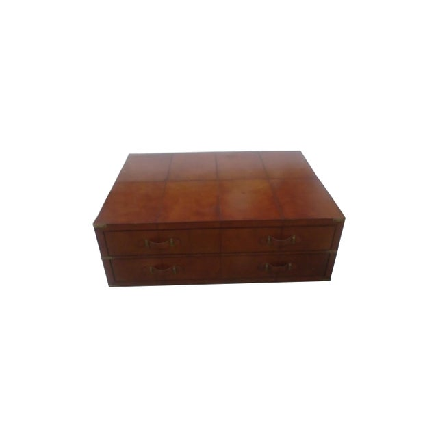 Rectangular leather storage coffee table chairish Square leather coffee table
