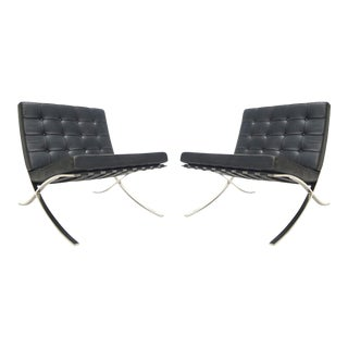 Black Leather Tufted Mies Van Der Rohe Barcelona Chairs by Knoll - A Pair