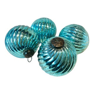 Aqua Mercury Glass Large Ornaments - Set of 4