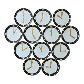 Mid-Century Clock Dial Dinner Plates - Set of 12