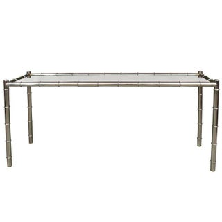 Mid-Century Faux Bamboo Chrome Console Table