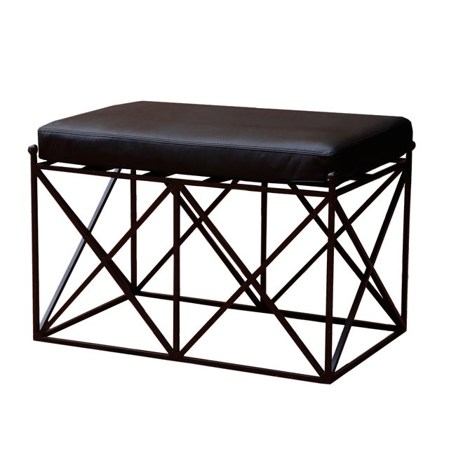 Lattice Iron Bench with Upholstered Leather Seat - Image 1 of 2