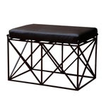 Image of Lattice Iron Bench with Upholstered Leather Seat