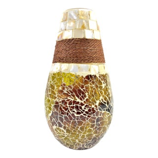 Medium Size Stained Glass Mosaic Vase with Seashell Tiles and Rope