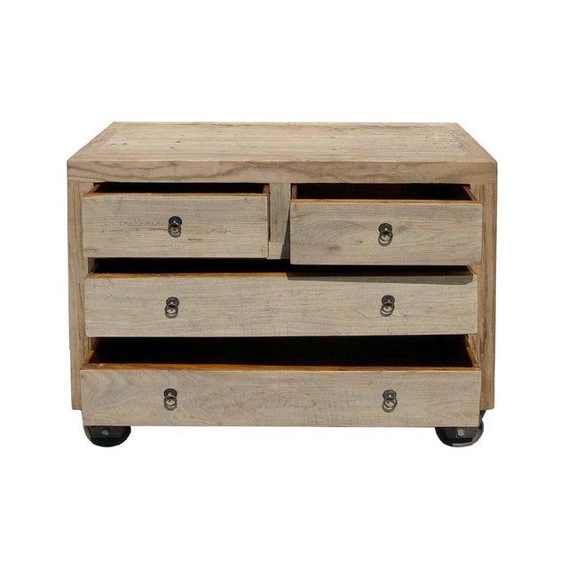 Image of Rustic, Natural Wood Dresser on Wheels