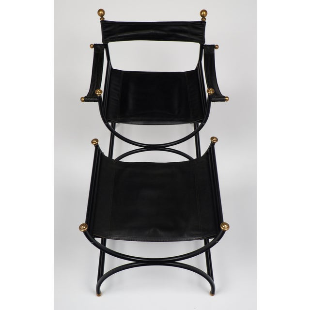 Image of Jacques Adnet Style Armchair with Stool