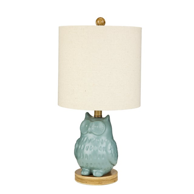 Image of Light Blue Ceramic Owl Table Lamp
