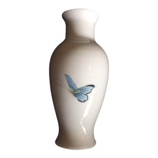 """Mk Bo Jia"" White Butterfly Motif China Vase"