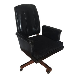 Mid-Century Executive Wood & Leather Chair