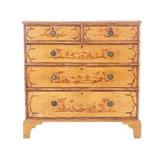 English 19th Century Painted Pine Chest with Asian Influence