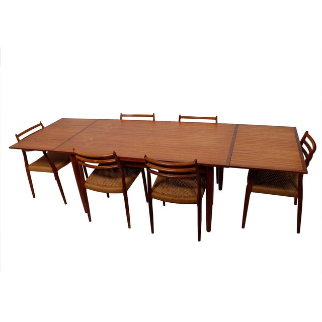 Danish Modern Teak Two-Tone Expanding Dining Table - Image 6 of 6
