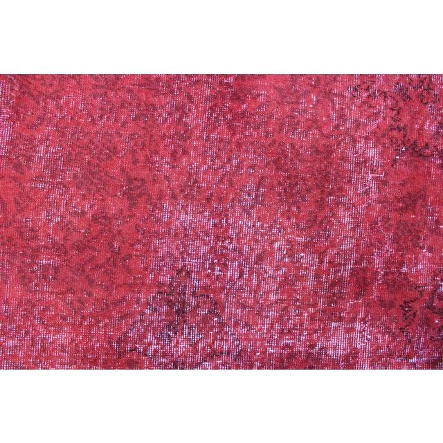 "Vintage Turkish Red Overdyed Rug - 7'2"" X 11' - Image 6 of 6"