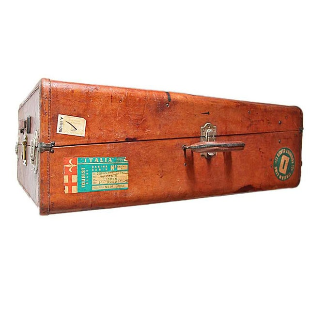 Vintage Worn Leather Suitcase - Image 1 of 8