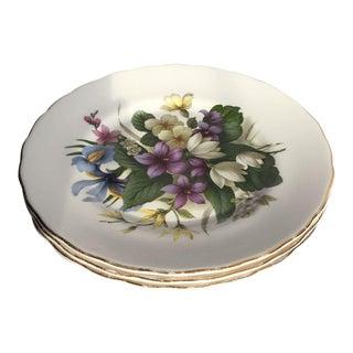 Floral English Bone China Plates - Set of 3