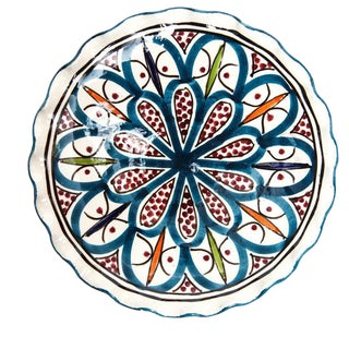 Moroccan Small Ceramic Teal Handpainted Plate