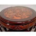 Image of Teak Asian Small 4 Bench Table Set